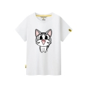 Unisex Cartoon Cat Printed Round Neck Short Sleeve Tee