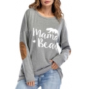 MAMA BEAR Graphic Printed Round Neck Long Sleeve Tee