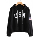 USA Letter Printed American Flag Long Sleeve Hoodie