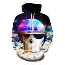 Skeleton Galaxy Print Long Sleeve Hoodie