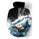 3D String of Guitar Waves Printed Long Sleeve Hoodie