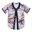 Floral Printed Buttons Down Short Sleeve Baseball Tee