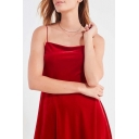 Spaghetti Straps Sleeveless Plain Mini Velvet A-Line Dress
