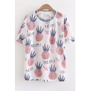 PINE APPLE Graphic Printed Round Neck Short Sleeve Tee