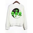 ALIEN Letter Tai Chi Pattern Printed Round Neck Long Sleeve Sweatshirt