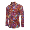 New Trendy Floral Printed Lapel Collar Long Sleeve Buttons Down Shirt