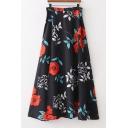 Floral Printed High Waist Split Skirt