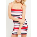 Striped Printed Spaghetti Straps Sleeveless Mini Bodycon Dress
