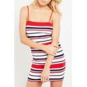 Striped Printed Spaghetti Straps Sleeveless Mini Bodycon Dress