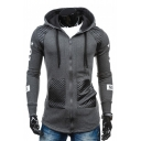 Letter Number Printed PU Patchwork Long Sleeve Zip Up Hoodie