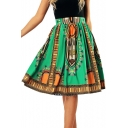 Folk Style Printed High Waist Midi A-Line Skirt