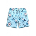 Unique Elastic Sky Blue Floral Tree Pattern Swim Trunks for Male with Pockets