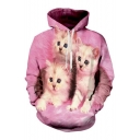 Three Cute Cat Pattern Long Sleeve Unisex Hoodie for Couple