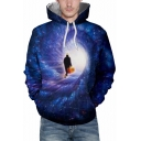 Mysterious Character Time Travel Galaxy Print Long Sleeves Pullover Unisex Hoodie