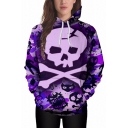 Street Fashion Skull Print Color Block Long Sleeves Pullover Popular Hoodie