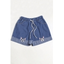 Dog Embroidered Drawstring Waist Denim Shorts
