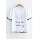 Rabbit Letter Contrast Braid Round Neck Short Sleeve Tee