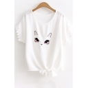 Cat Embroidered Crochet Embellished Short Sleeve Round Neck Bow Tied Hem Tee