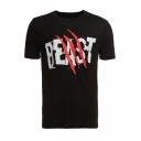 BEAST Scratches Printed Round Neck Short Sleeve Tee