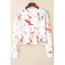 Fox Branch Printed Round Neck Long Sleeve Crop Sweatshirt