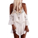 Off The Shoulder 3/4 Length Sleeve Lace Insert Romper