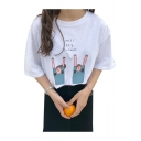 YES IT'S SUMMER Letter Cartoon Character Printed Round Neck Short Sleeve Tee