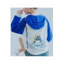 Cat Print Color Block Raglan Long Sleeve Hooded Coat