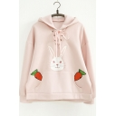 Rabbit and Carrots Printed Tie Front Long Sleeve Hoodie