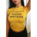 YOUNG WRITERS Letter Printed Round Neck Short Sleeve Crop Tee