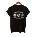 PROTECTED BY Letter Sun Printed Round Neck Short Sleeve Tee