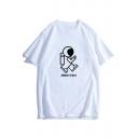 Cartoon Astronaut MOON WALK Letter Printed Round Neck Short Sleeve Tee