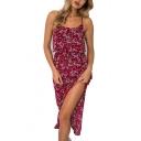Floral Printed Spaghetti Straps Sleeveless Midi Asymmetric Hem Dress