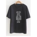 Robot Bear Printed Round Neck Short Sleeve Tee