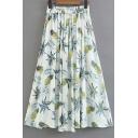 Pineapple Leaf Printed Elastic Waist Maxi A-Line Skirt