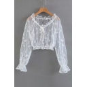 Floral Sheer Mesh Embroidered Round Neck Long Sleeve Crop Blouse