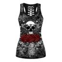 Gun Skull Floral Printed Round Neck Sleeveless Tank