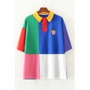 Color Block Character Embroidered Short Sleeve Loose Polo Tee