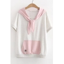 Color Block Rabbit's Ears Embellished Hood Short Sleeve Hooded Tee