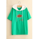 Umbrella Letter Embroidered Color Block Hood Short Sleeve Hooded Tee