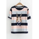 Bow Embellished Rabbit Color Block Striped Printed Round Neck Short Sleeve Tee