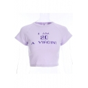 I AM SO Letter Printed Round Neck Short Sleeve Crop Tee