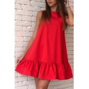 Round Neck Sleeveless Plain Ruffle Hem Mini Swing Dress