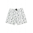White and Black Mens Fish Shark Print Drawstring Swim Beach Shorts with Side Pockets
