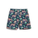 Men's Big and Tall Cool Navy Blue Drawstring Tropical Tiger Pattern Swim Trunks without Liner Brief