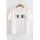 Five Cats Embroidered Applique Round Neck Short Sleeve Tee