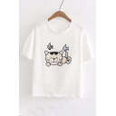 Cat Fish Embroidered Round Neck Short Sleeve Tee