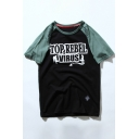 Color Block Letter Printed Round Neck Short Sleeve Tee