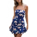 Ruffle Hem Spaghetti Straps Sleeveless Floral Printed Mini Cami Dress