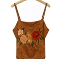 Floral Embroidered Spaghetti Straps Sleeveless Crop Cami