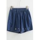 Ice Cream Embroidered Elastic Waist Loose Denim Shorts